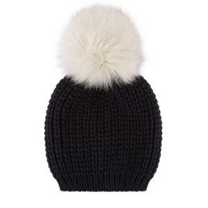 SANDRO Billie Pom Pom Beanie Hat Wool Fox Fur